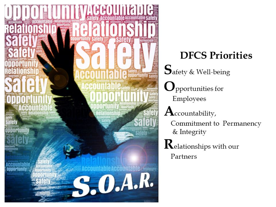DFCS Priorities S afety & Well-being O pportunities for Employees A ccountability, Commitment to Permanency & Integrity R elationships with our Partners