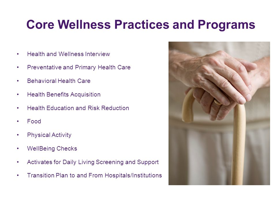 Core Wellness Practices and Programs Health and Wellness Interview Preventative and Primary Health Care Behavioral Health Care Health Benefits Acquisi