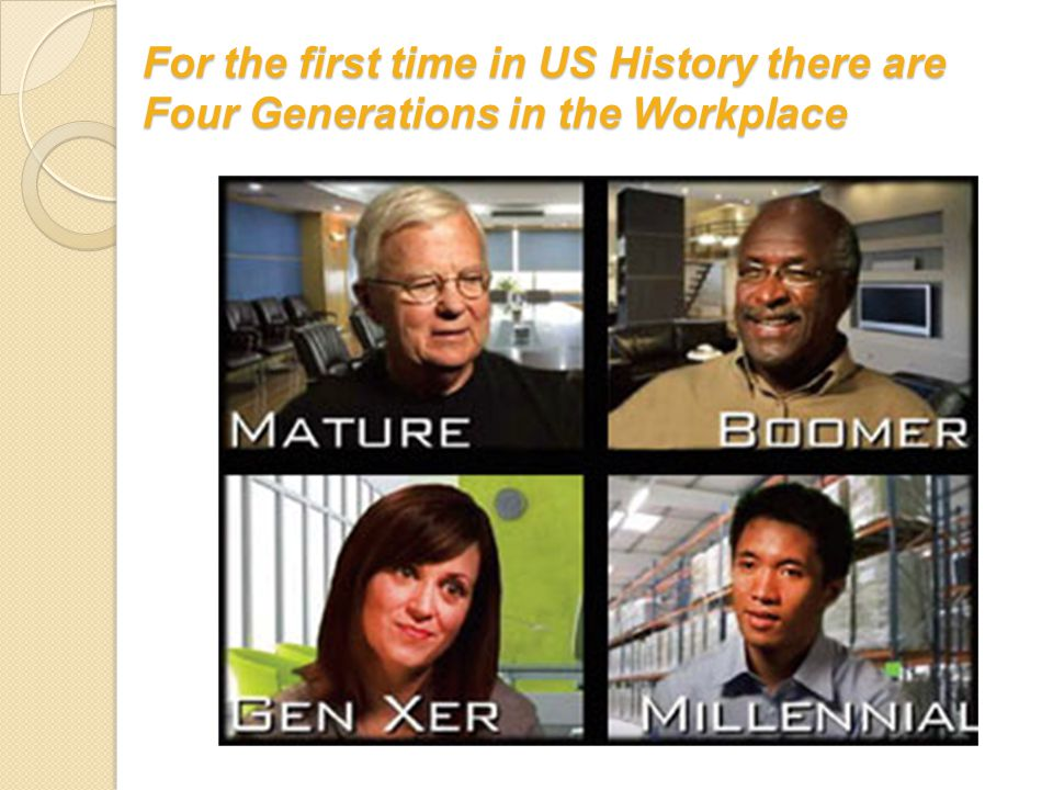 For the first time in US History there are Four Generations in the Workplace