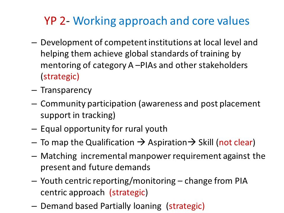 YP 2- Working approach and core values – Development of competent institutions at local level and helping them achieve global standards of training by