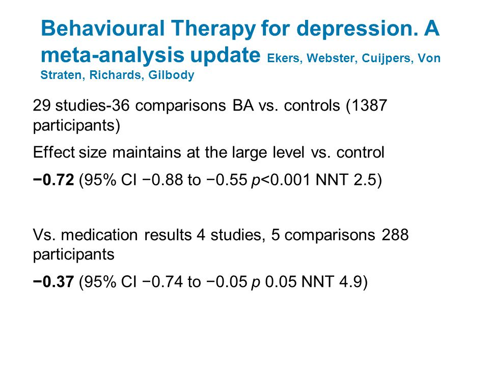 Behavioural Therapy for depression.