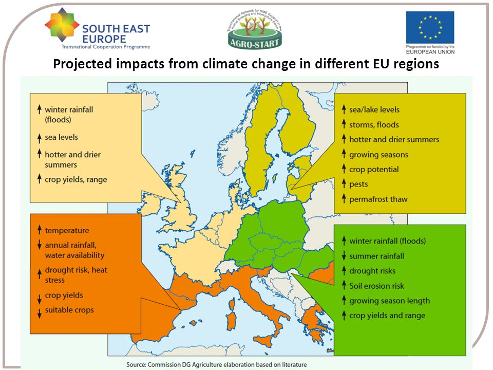 Projected impacts from climate change in different EU regions