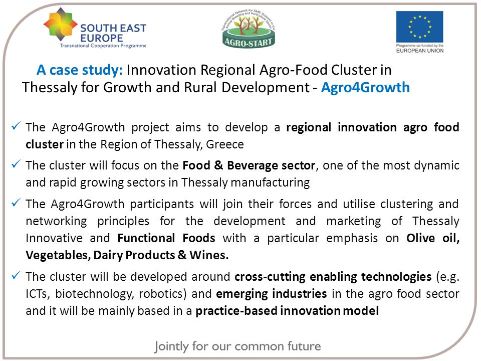 The Agro4Growth project aims to develop a regional innovation agro food cluster in the Region of Thessaly, Greece The cluster will focus on the Food & Beverage sector, one of the most dynamic and rapid growing sectors in Thessaly manufacturing The Agro4Growth participants will join their forces and utilise clustering and networking principles for the development and marketing of Thessaly Innovative and Functional Foods with a particular emphasis on Olive oil, Vegetables, Dairy Products & Wines.