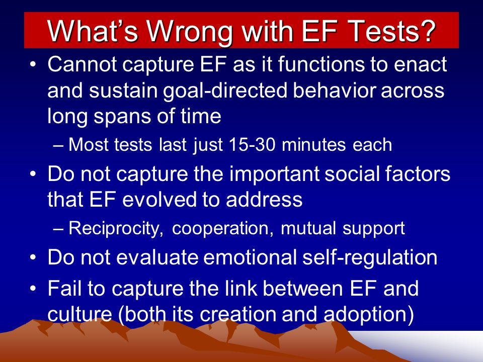 What's Wrong with EF Tests.