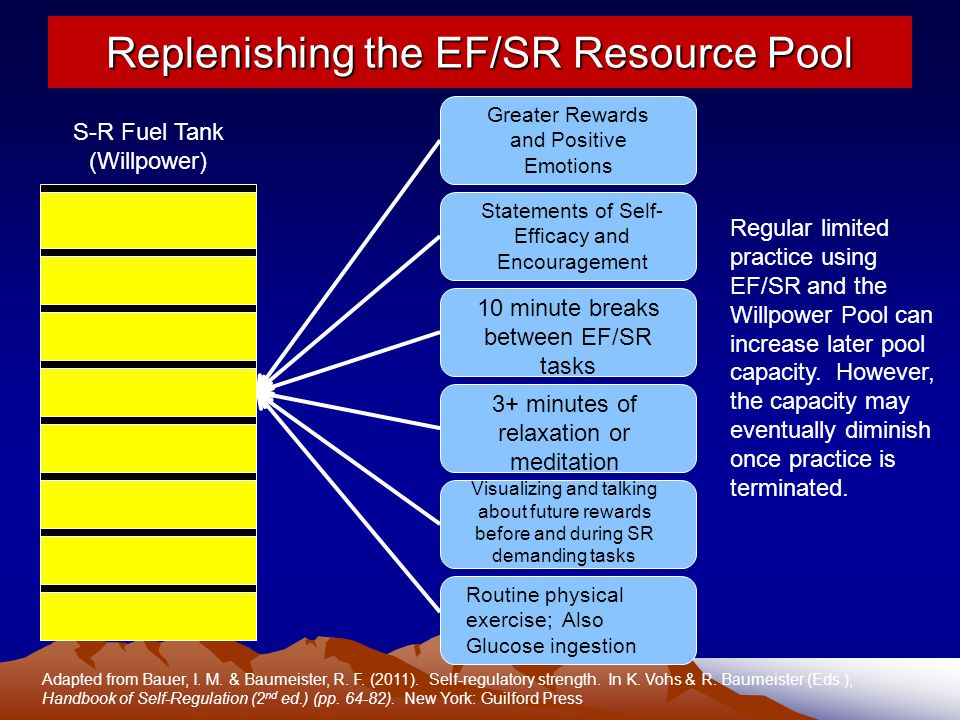 Replenishing the EF/SR Resource Pool S-R Fuel Tank (Willpower) Greater Rewards and Positive Emotions Statements of Self- Efficacy and Encouragement 10 minute breaks between EF/SR tasks 3+ minutes of relaxation or meditation Visualizing and talking about future rewards before and during SR demanding tasks Routine physical exercise; Also Glucose ingestion Adapted from Bauer, I.