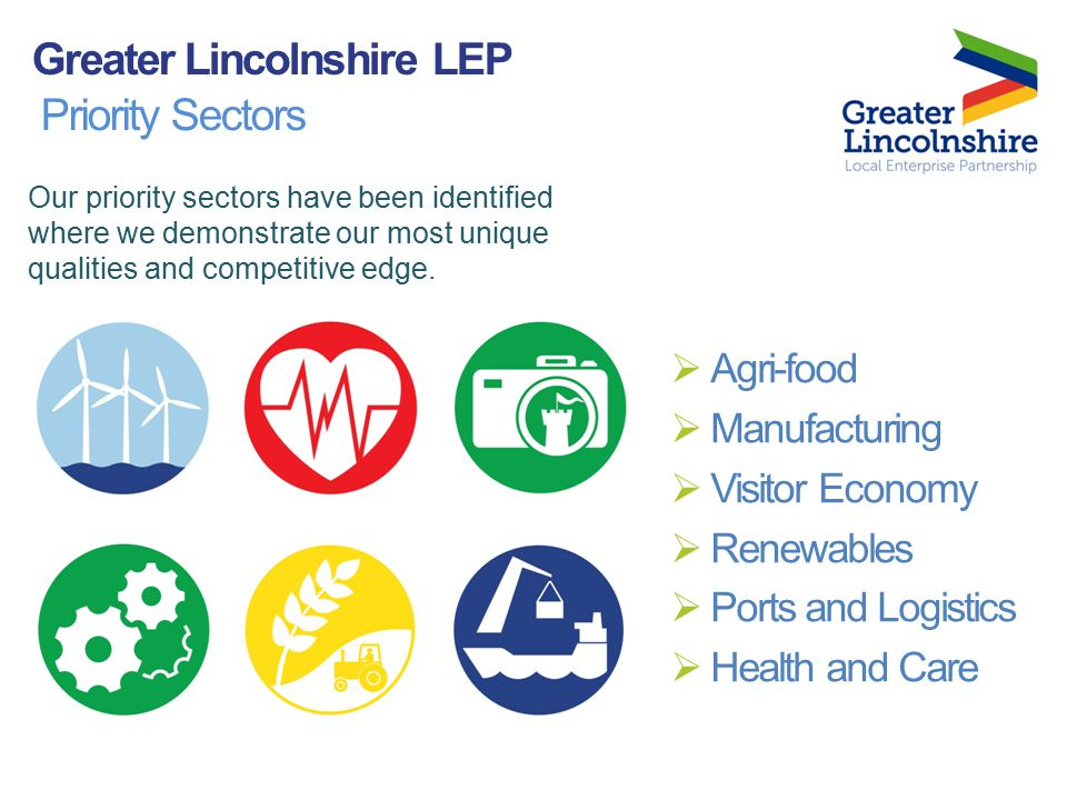 Priority Sectors  Agri-food  Manufacturing  Visitor Economy  Renewables  Ports and Logistics  Health and Care Our priority sectors have been identified where we demonstrate our most unique qualities and competitive edge.