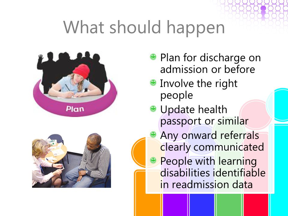 What should happen Plan for discharge on admission or before Involve the right people Update health passport or similar Any onward referrals clearly c