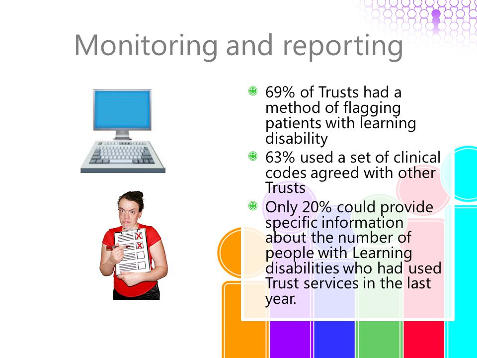 Monitoring and reporting 69% of Trusts had a method of flagging patients with learning disability 63% used a set of clinical codes agreed with other T
