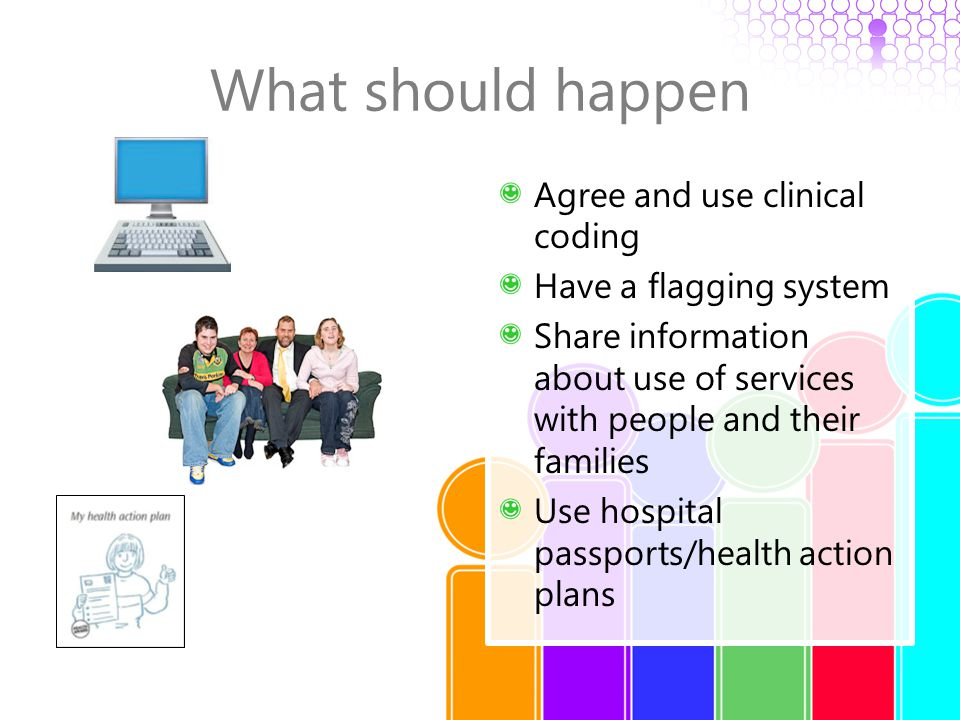 What should happen Agree and use clinical coding Have a flagging system Share information about use of services with people and their families Use hos