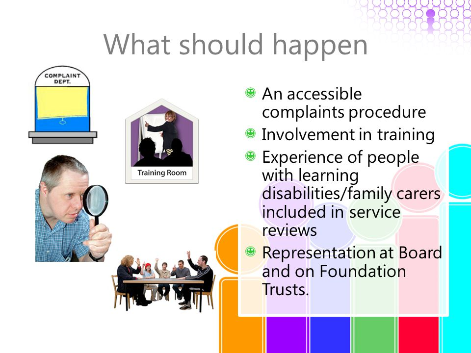 What should happen An accessible complaints procedure Involvement in training Experience of people with learning disabilities/family carers included i