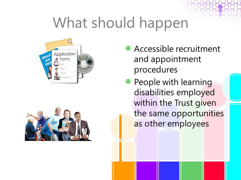 What should happen Accessible recruitment and appointment procedures People with learning disabilities employed within the Trust given the same opport