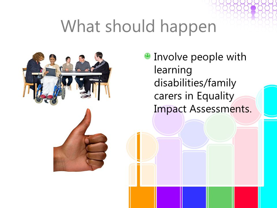 What should happen Involve people with learning disabilities/family carers in Equality Impact Assessments.