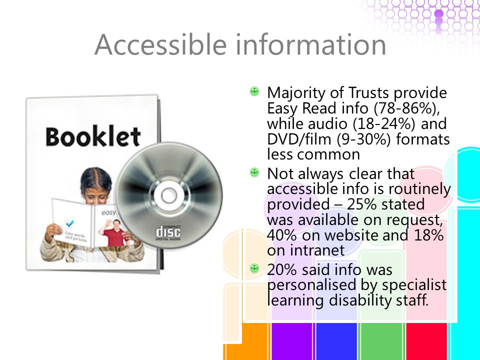 Accessible information Majority of Trusts provide Easy Read info (78-86%), while audio (18-24%) and DVD/film (9-30%) formats less common Not always cl
