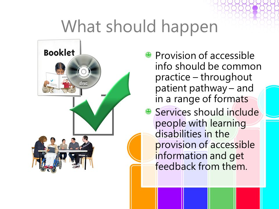 What should happen Provision of accessible info should be common practice – throughout patient pathway – and in a range of formats Services should inc
