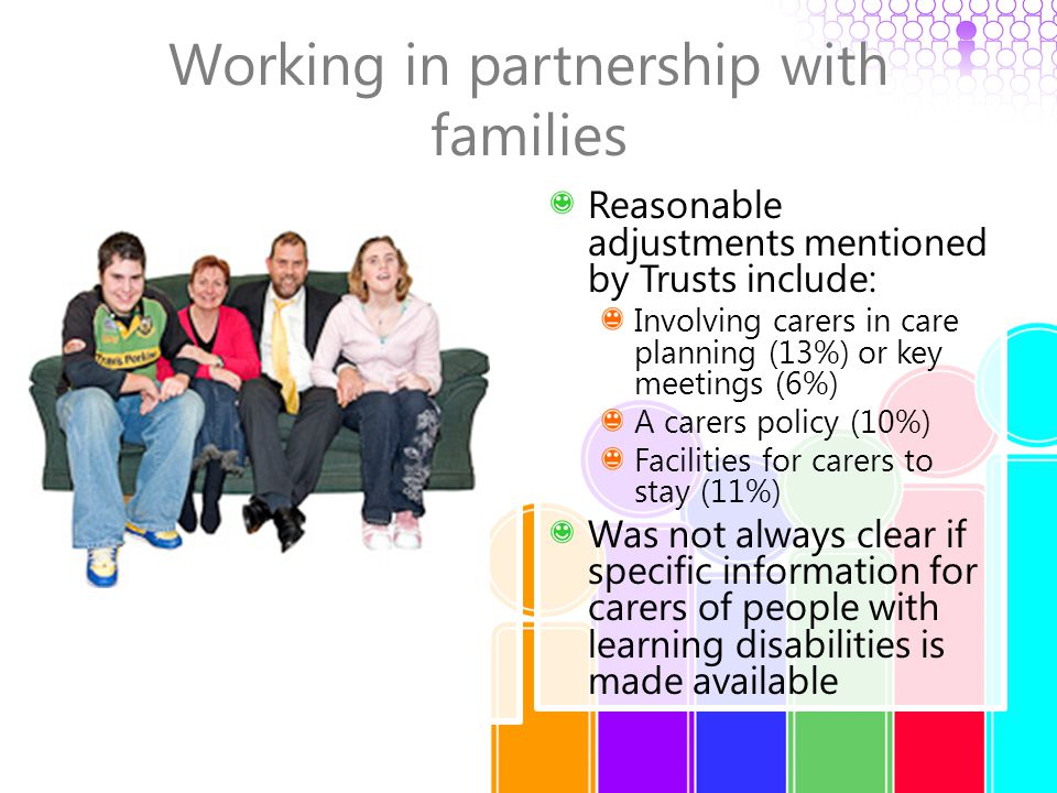 Working in partnership with families Reasonable adjustments mentioned by Trusts include: Involving carers in care planning (13%) or key meetings (6%)
