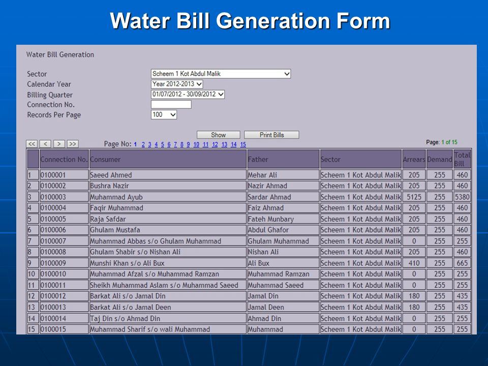 Water Bill Generation Form