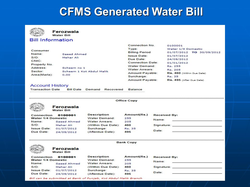 CFMS Generated Water Bill