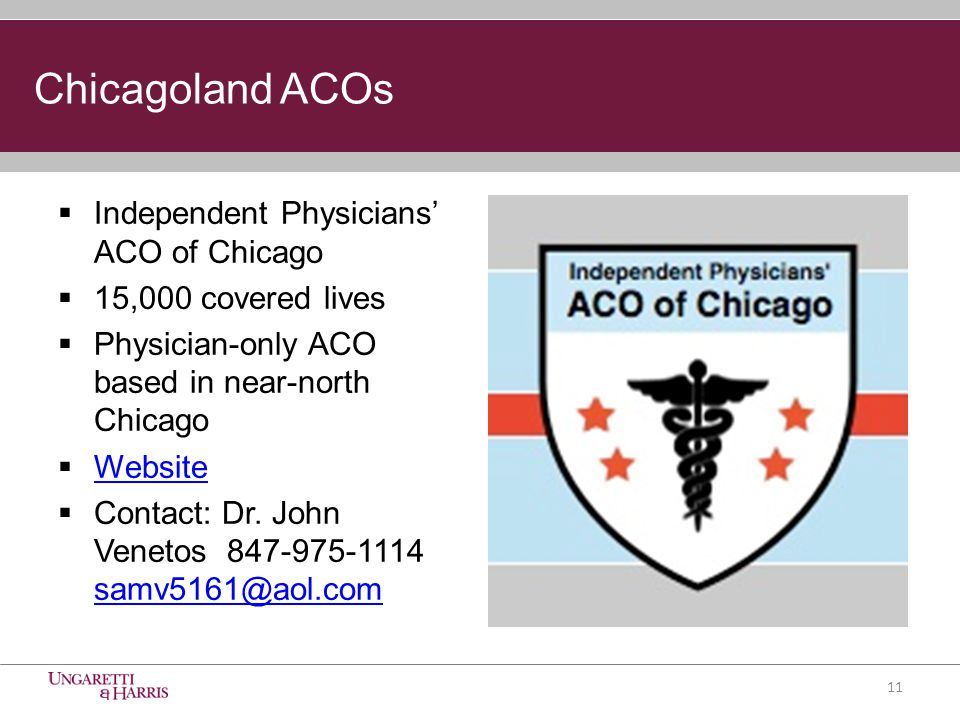 Chicagoland ACOs  Independent Physicians' ACO of Chicago  15,000 covered lives  Physician-only ACO based in near-north Chicago  Website Website  Contact: Dr.