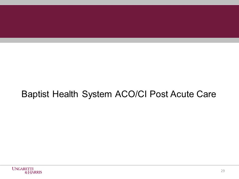29 Baptist Health System ACO/CI Post Acute Care
