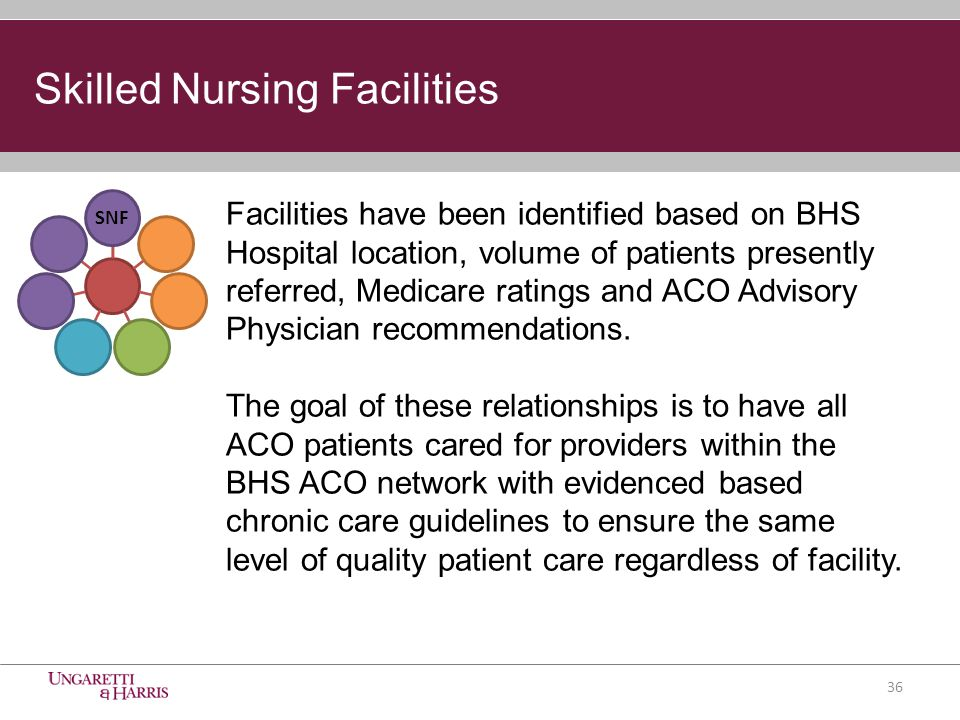 Skilled Nursing Facilities SNF Facilities have been identified based on BHS Hospital location, volume of patients presently referred, Medicare ratings and ACO Advisory Physician recommendations.