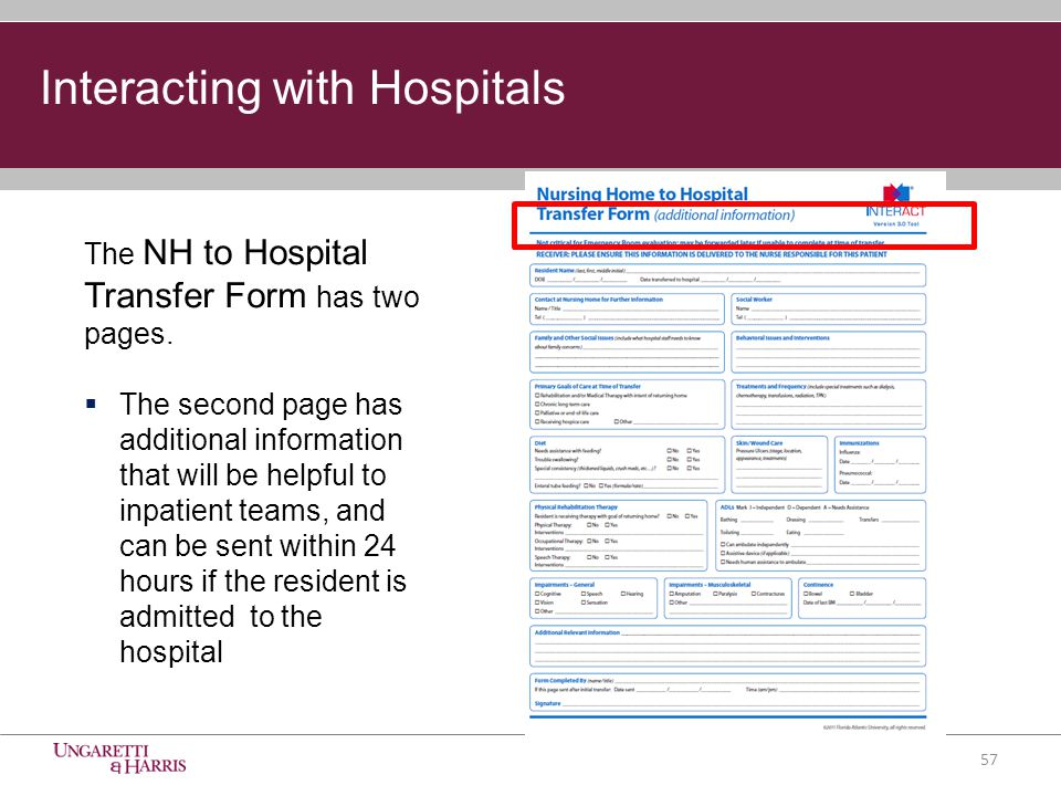 The NH to Hospital Transfer Form has two pages.