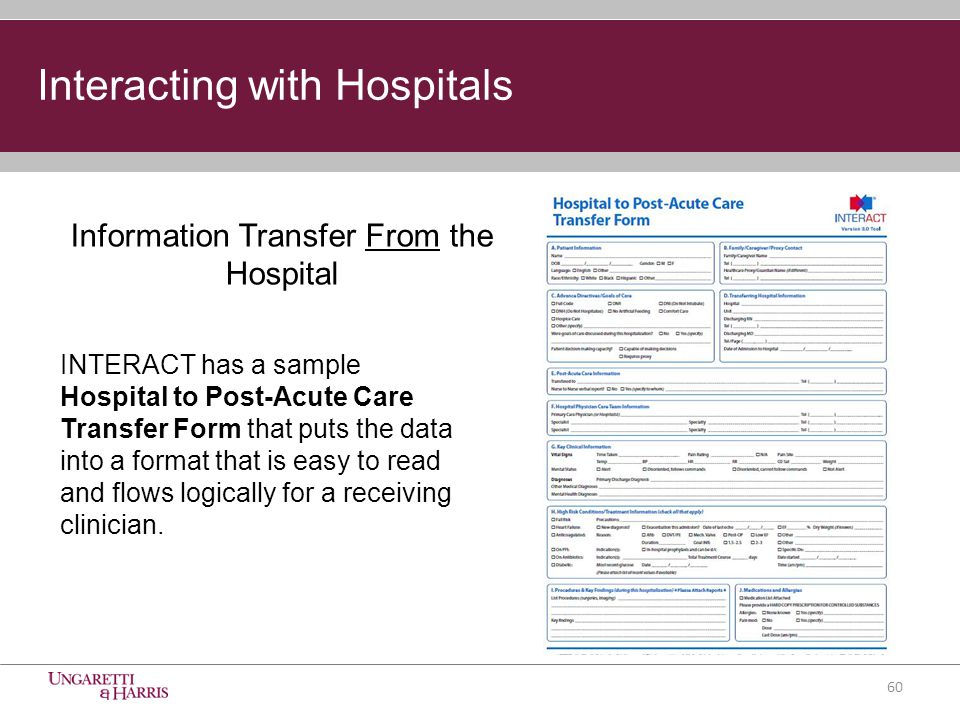 INTERACT has a sample Hospital to Post-Acute Care Transfer Form that puts the data into a format that is easy to read and flows logically for a receiving clinician.