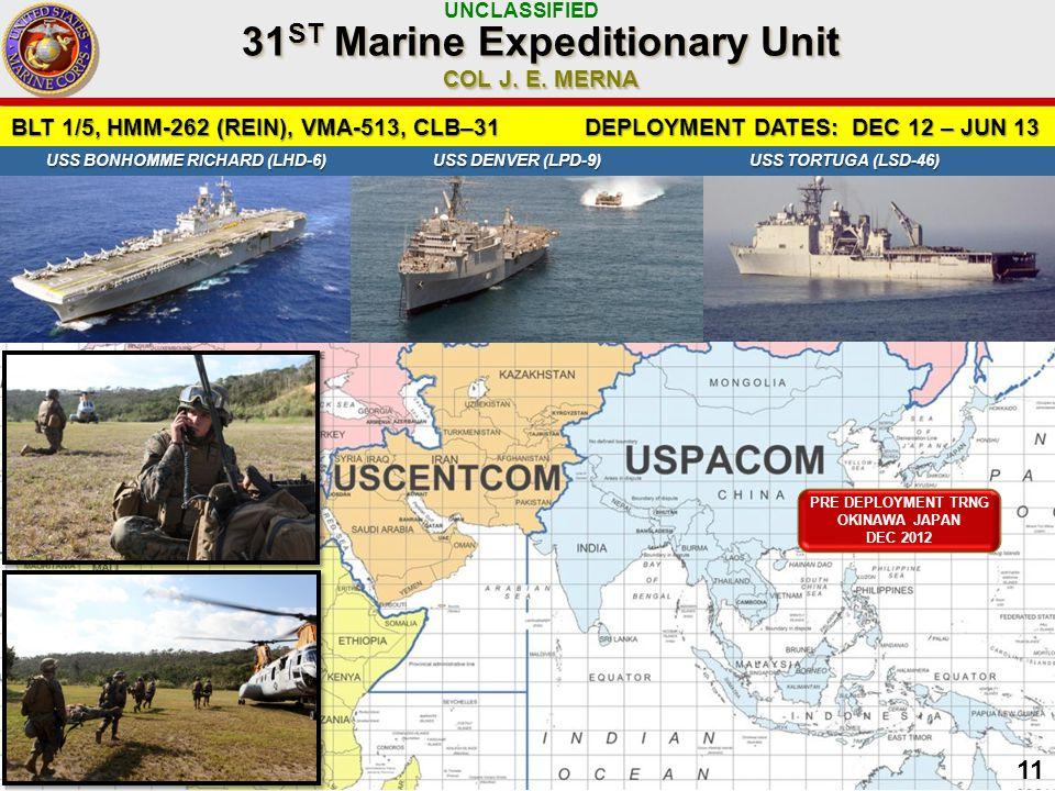 UNCLASSIFIED 11 BLT 1/5, HMM-262 (REIN), VMA-513, CLB–31 DEPLOYMENT DATES: DEC 12 – JUN 13 31 ST Marine Expeditionary Unit COL J.