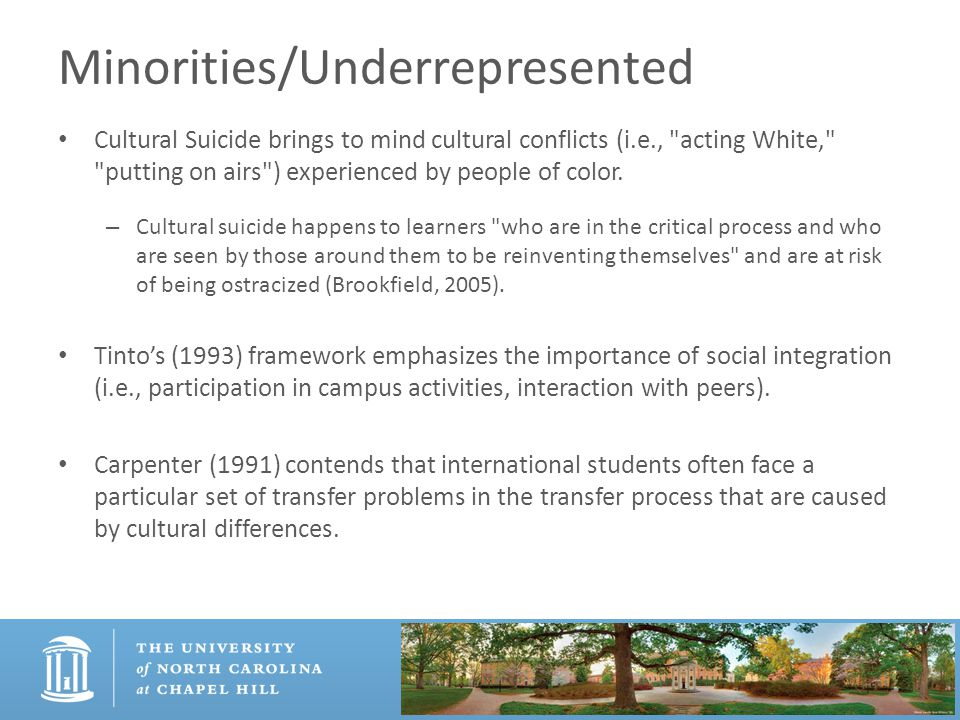 Minorities/Underrepresented Cultural Suicide brings to mind cultural conflicts (i.e.,