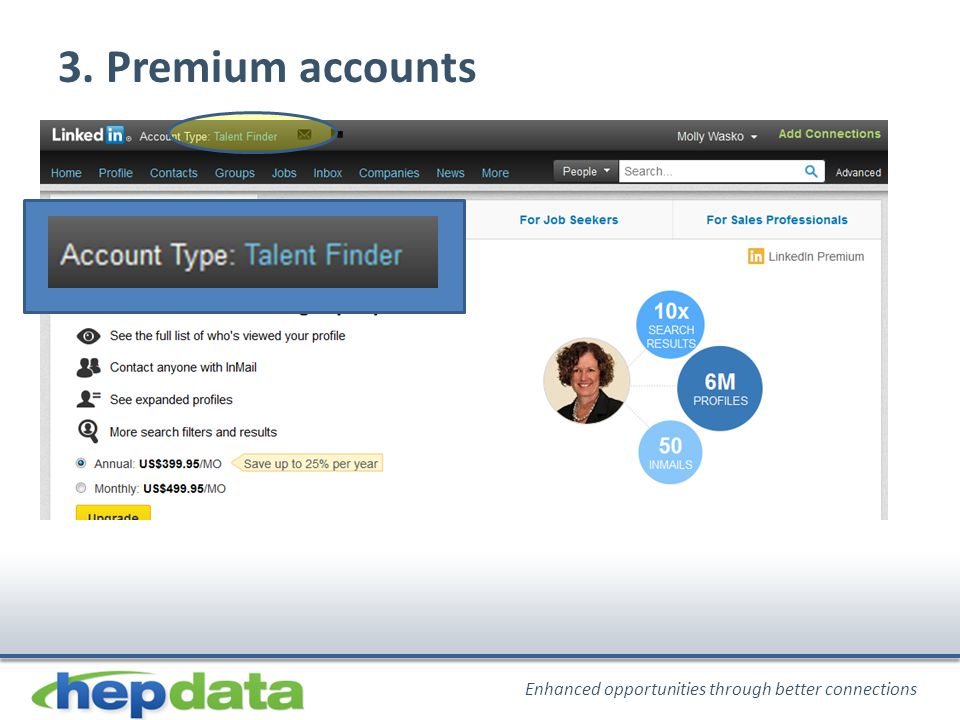 Enhanced opportunities through better connections 3. Premium accounts