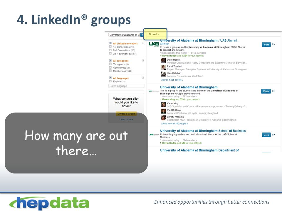 Enhanced opportunities through better connections 4. LinkedIn® groups How many are out there…