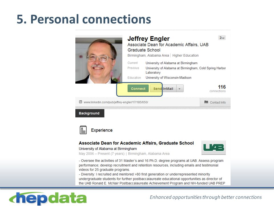 Enhanced opportunities through better connections 5. Personal connections