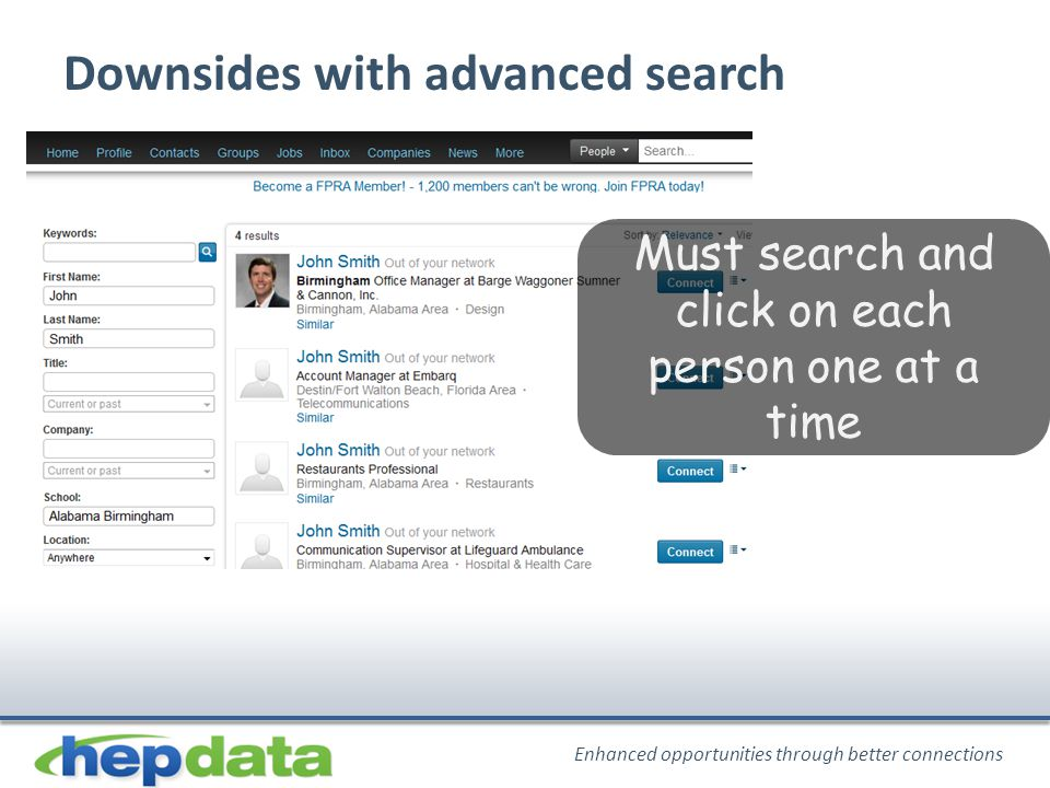 Enhanced opportunities through better connections Must search and click on each person one at a time Downsides with advanced search