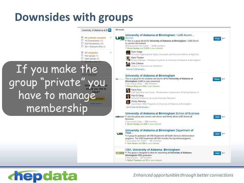 Enhanced opportunities through better connections Downsides with groups If you make the group private you have to manage membership