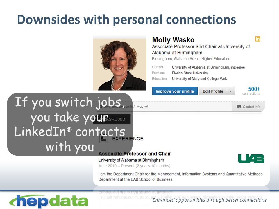 Enhanced opportunities through better connections Downsides with personal connections If you switch jobs, you take your LinkedIn ® contacts with you