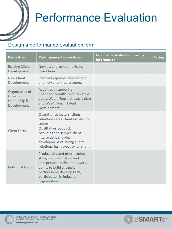 Performance Evaluation Design a performance evaluation form.