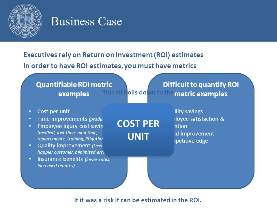 Quantifiable ROI metric examples Cost per unit Time improvements (productivity) Employee injury cost savings (medical, lost time, mod time, replacements, training, litigation) Quality improvement (Less waste, happier customer, minimized errors) Insurance benefits (lower rates, increased rebates) Difficult to quantify ROI metric examples Liability savings Employee satisfaction & retention Brand improvement Competitive edge Executives rely on Return on Investment (ROI) estimates In order to have ROI estimates, you must have metrics If it was a risk it can be estimated in the ROI.