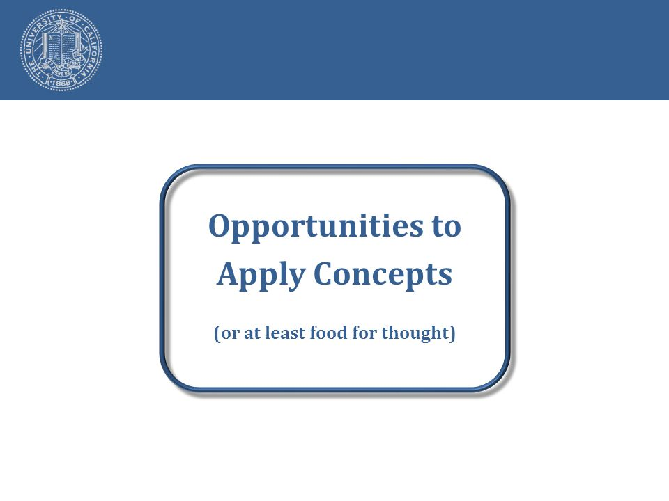Opportunities to Apply Concepts (or at least food for thought)