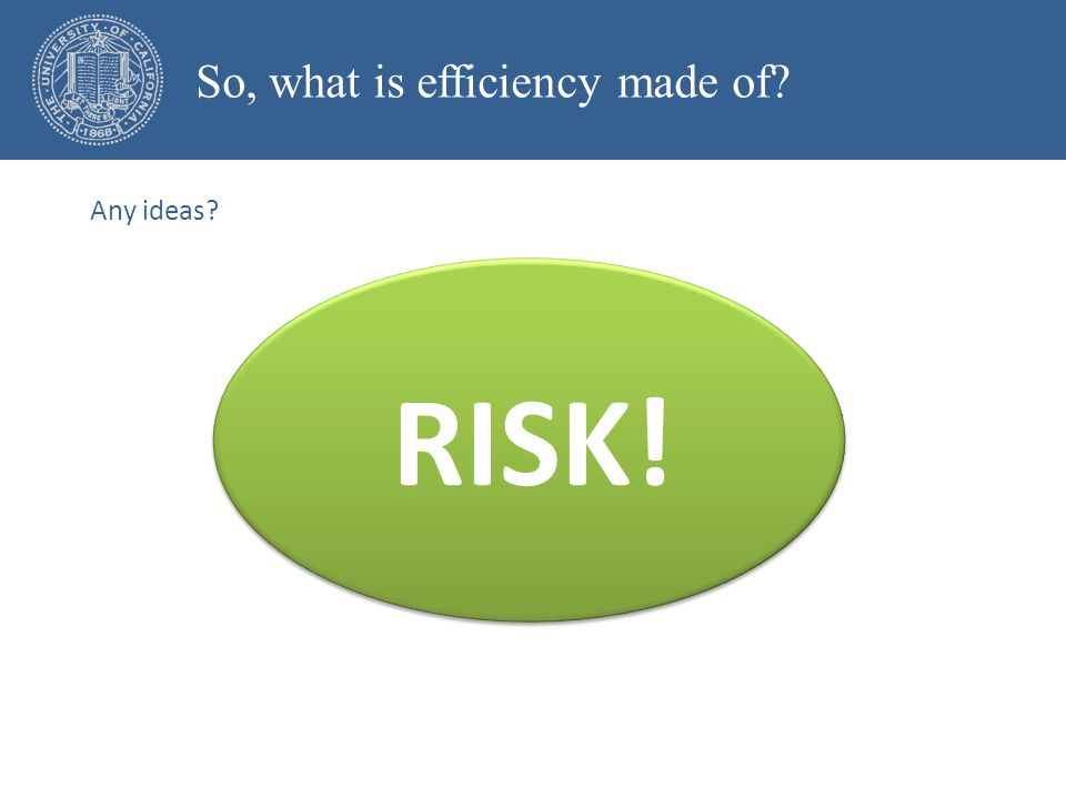 RISK! So, what is efficiency made of Any ideas