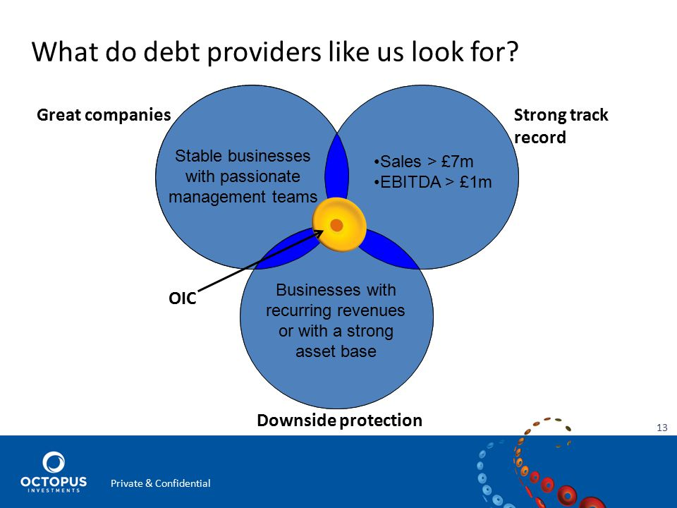 What do debt providers like us look for.