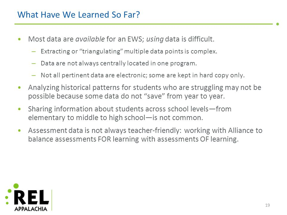What Have We Learned So Far. Most data are available for an EWS; using data is difficult.