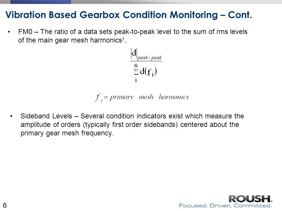 Vibration Based Gearbox Condition Monitoring – Cont.