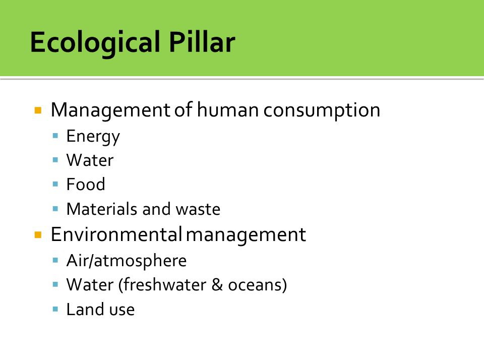  Management of human consumption  Energy  Water  Food  Materials and waste  Environmental management  Air/atmosphere  Water (freshwater & ocea