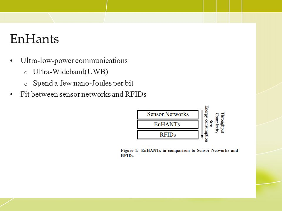 EnHants Ultra-low-power communications o Ultra-Wideband(UWB) o Spend a few nano-Joules per bit Fit between sensor networks and RFIDs