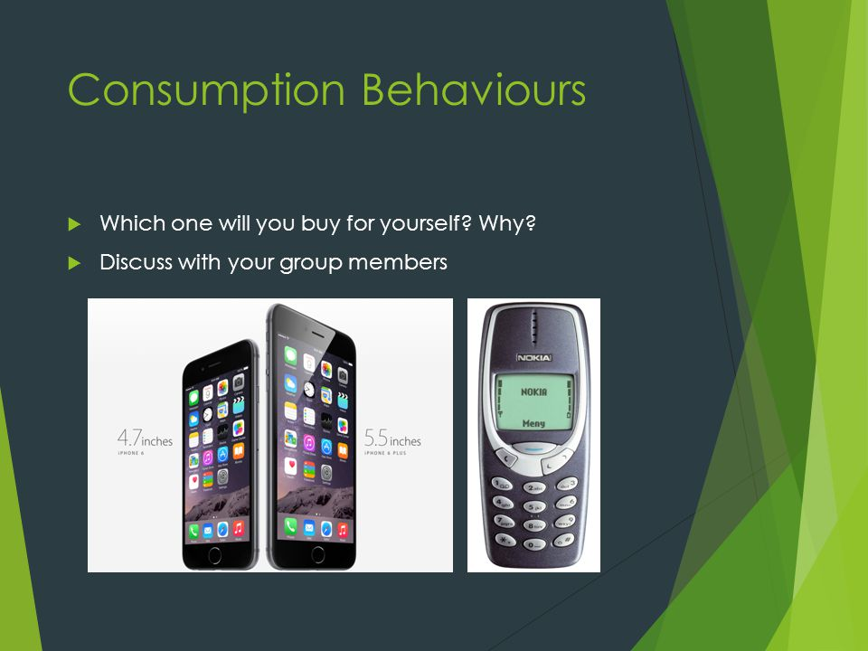 Consumption Behaviours  Which one will you buy for yourself.