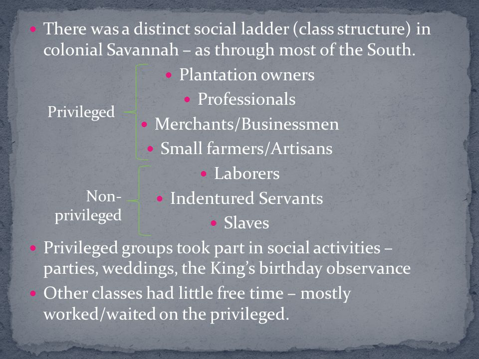There was a distinct social ladder (class structure) in colonial Savannah – as through most of the South.