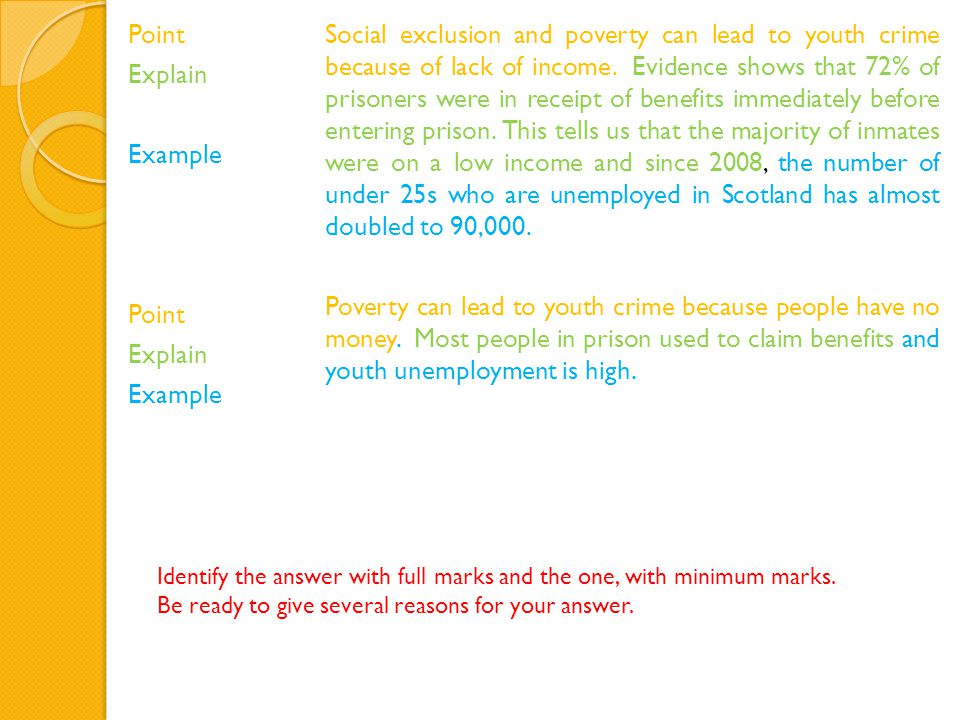 Point Explain Example Point Explain Example Social exclusion and poverty can lead to youth crime because of lack of income.