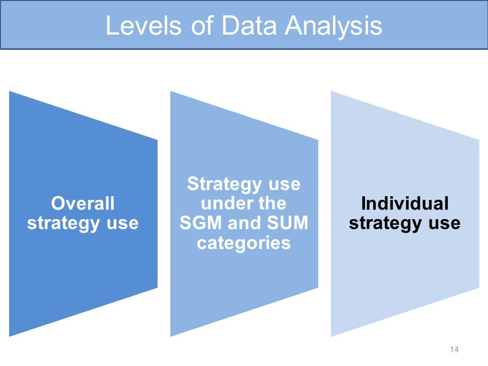 Overall strategy use Strategy use under the SGM and SUM categories Individual strategy use 14 Levels of Data Analysis