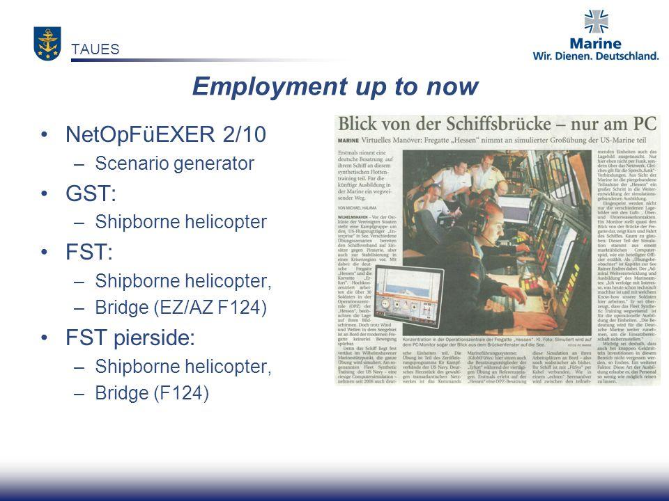 Employment up to now NetOpFüEXER 2/10 –Scenario generator GST: –Shipborne helicopter FST: –Shipborne helicopter, –Bridge (EZ/AZ F124) FST pierside: –Shipborne helicopter, –Bridge (F124) TAUES