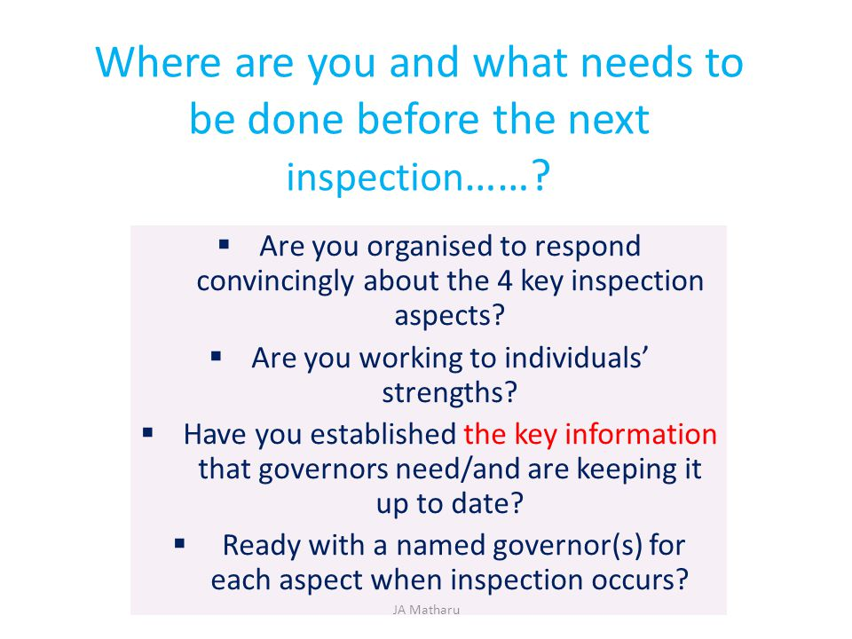 Where are you and what needs to be done before the next inspection ……?  Are you organised to respond convincingly about the 4 key inspection aspects?