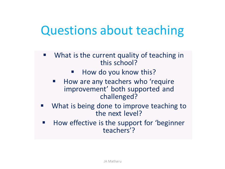 Questions about teaching  What is the current quality of teaching in this school?  How do you know this?  How are any teachers who 'require improve